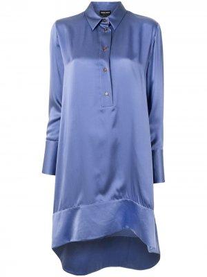 Рубашка с асимметричным подолом Giorgio Armani. Цвет: фиолетовый