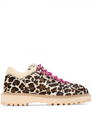 Ботинки хайкеры Monfumo с леопардовым принтом Diemme. Цвет: коричневый