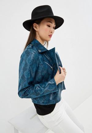 Куртка кожаная Patrizia Pepe. Цвет: синий