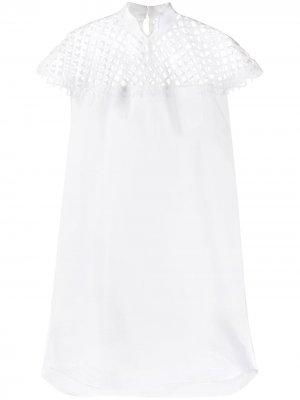 Платье миди с сетчатыми вставками Sacai. Цвет: белый