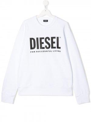 Толстовка с логотипом Diesel Kids. Цвет: белый