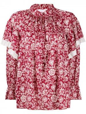 Блузка с цветочным принтом и оборками See by Chloé. Цвет: красный