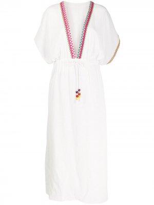 Пляжное платье с вышивкой Mira Mikati. Цвет: белый
