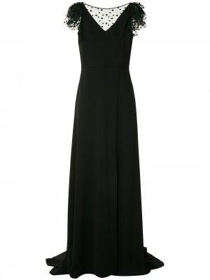 Вечернее платье с сетчатой вставкой Paule Ka. Цвет: черный