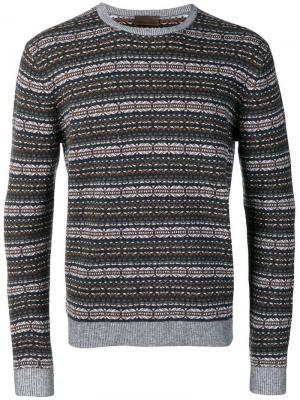 Вязаный свитер с узором интарсия Altea. Цвет: серый