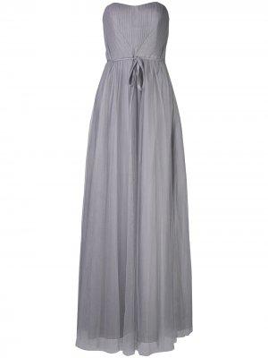 Длинное платье с драпировкой Marchesa Notte Bridesmaids. Цвет: синий
