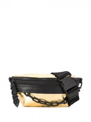Поясная сумка с цепочкой Just Cavalli. Цвет: золотистый