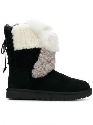 Классические зимние сапоги в стилистике пэчворк Ugg Australia. Цвет: черный