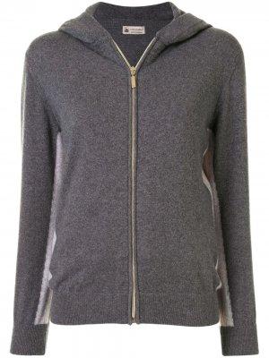 Спортивная куртка с контрастными полосками и капюшоном Colombo. Цвет: серый