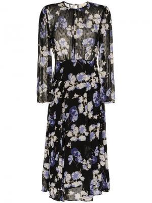 Платье миди с цветочным принтом By Timo. Цвет: черный