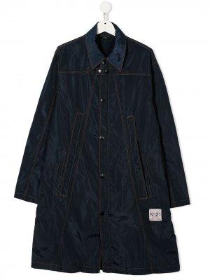 Расклешенное пальто с нашивкой-логотипом Nº21 Kids. Цвет: синий
