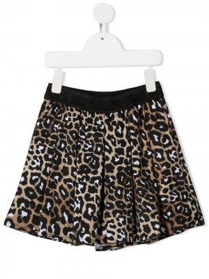 Шорты с леопардовым принтом и складками Msgm Kids. Цвет: коричневый