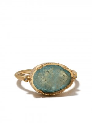 Кольцо Orbit из желтого золота с бриллиантами и аквамаринами Brooke Gregson. Цвет: голубой