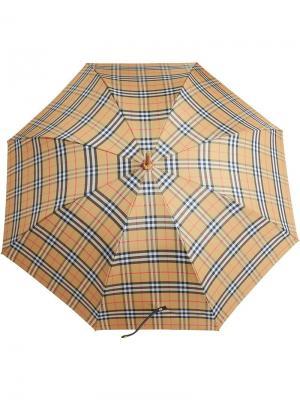 Зонт в винтажную клетку Burberry. Цвет: желтый