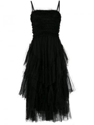 Коктейльное ярусное платье из тюля Red Valentino. Цвет: черный