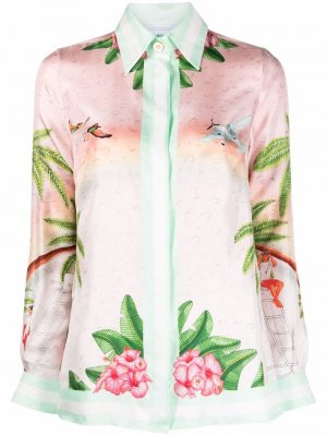 Surf Club-print silk shirt Casablanca. Цвет: розовый