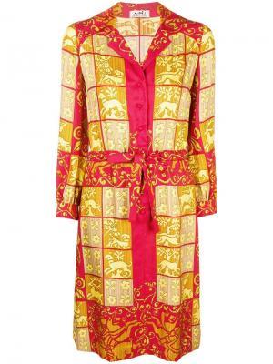 Платье-рубашка с принтом Hermès Vintage. Цвет: красный