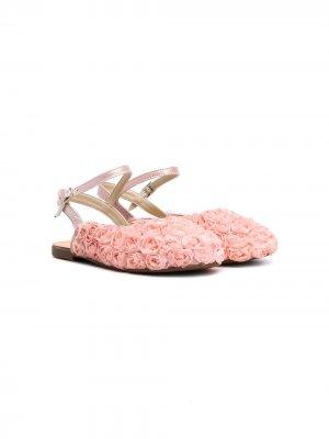 Туфли с ремешком на пятке и цветочным декором BabyWalker. Цвет: розовый