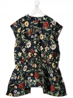 Платье с цветочным принтом Oscar De La Renta Kids. Цвет: синий