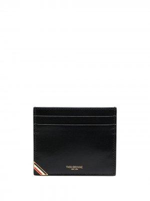 DOUBLE SIDED CARD HOLDER W/ RWB ENAMEL CORNER IN BOX CALF Thom Browne. Цвет: черный