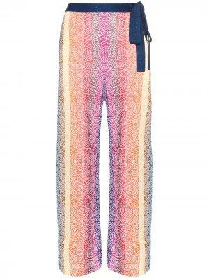 Брюки Rego широкого кроя в полоску Mary Katrantzou. Цвет: синий