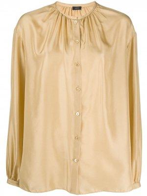 Атласная блузка с воротником-стойкой и сборками Joseph. Цвет: желтый