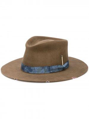 Шляпа Whiskey Springs с эффектом потертости Nick Fouquet. Цвет: коричневый