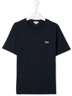 Футболка с вышитым логотипом BOSS Kidswear. Цвет: синий