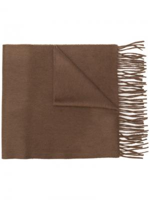 Classic fringed cashmere scarf Begg & Co. Цвет: коричневый