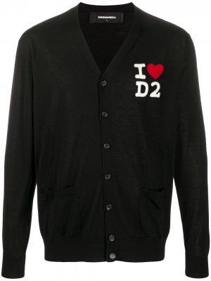 Кардиган с вышитым логотипом Dsquared2. Цвет: черный