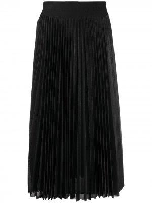 Плиссированная юбка миди LIU JO. Цвет: черный