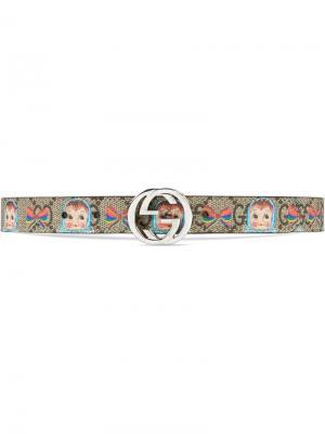 Ремень с пряжкой GG и принтом Gucci Kids. Цвет: нейтральные цвета