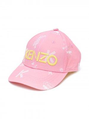 Кепка с вышитым логотипом Kenzo Kids. Цвет: розовый