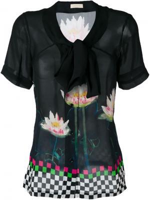 Блузка с цветочным принтом Wunderkind. Цвет: черный