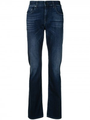 Прямые джинсы с эффектом потертости 7 For All Mankind. Цвет: синий