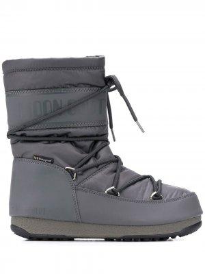 Ботинки на шнуровке Moon Boot. Цвет: серый