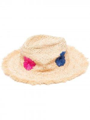 Соломенная шляпа с цветочной вышивкой PAUL SMITH. Цвет: нейтральные цвета