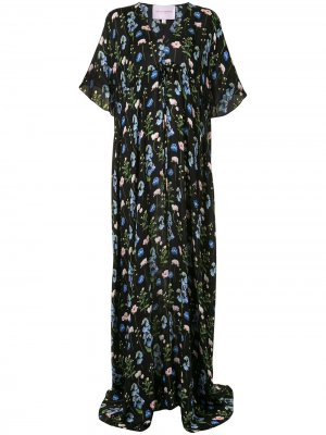 Длинное платье с цветочным принтом Carolina Herrera. Цвет: черный