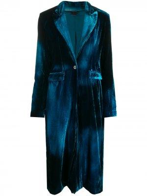 Бархатное пальто строгого кроя Avant Toi. Цвет: синий