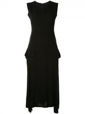 Платье без рукавов с драпировкой Yohji Yamamoto. Цвет: черный