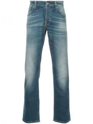 Прямые джинсы с эффектом потертости Nudie Jeans Co. Цвет: синий