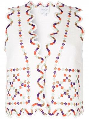 Жилет с вышивкой Giambattista Valli. Цвет: белый