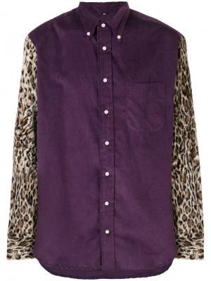 Рубашка с рукавами леопардовым узором Gitman Vintage. Цвет: фиолетовый