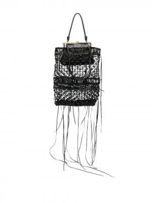Плетеная сумка на плечо Krizia. Цвет: черный