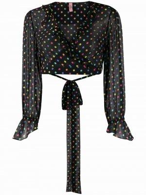 Полупрозрачная блузка в горох Agent Provocateur. Цвет: черный