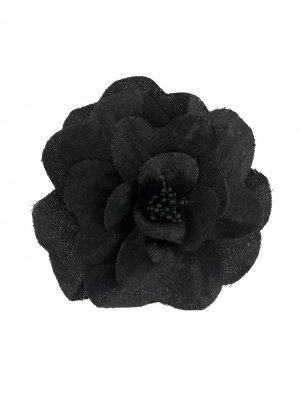 Брошь с цветочной вышивкой Philosophy Di Lorenzo Serafini. Цвет: черный