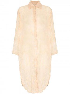 Платье-рубашка миди с жатым эффектом Missing You Already. Цвет: оранжевый