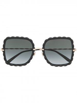 Солнцезащитные очки с фестонами Elie Saab. Цвет: черный