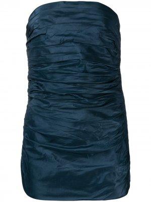 Корсет 1970-х годов с драпировкой Yves Saint Laurent Pre-Owned. Цвет: синий