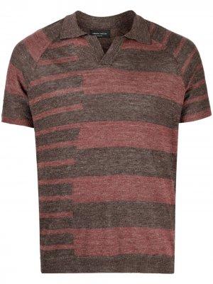 Рубашка поло в полоску Roberto Collina. Цвет: коричневый